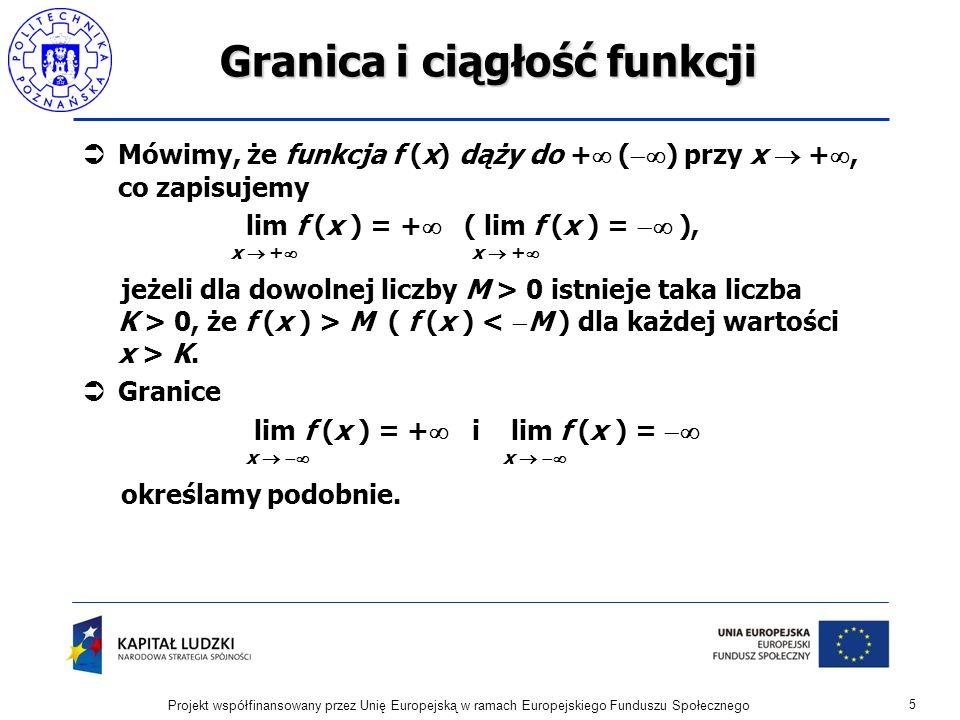 Granica i ciągłość funkcji Jeżeli istnieją granice lim f (x ) i lim g (x ), to x c x c lim (f (x ) g (x )) = lim f (x ) lim g (x ) x c x c x c lim (f (x ) g (x )) = lim f (x ) lim g (x ) x c x c x c lim (f (x )/g (x )) = lim f (x ) / lim g (x ), jeśli lim g (x ) 0.