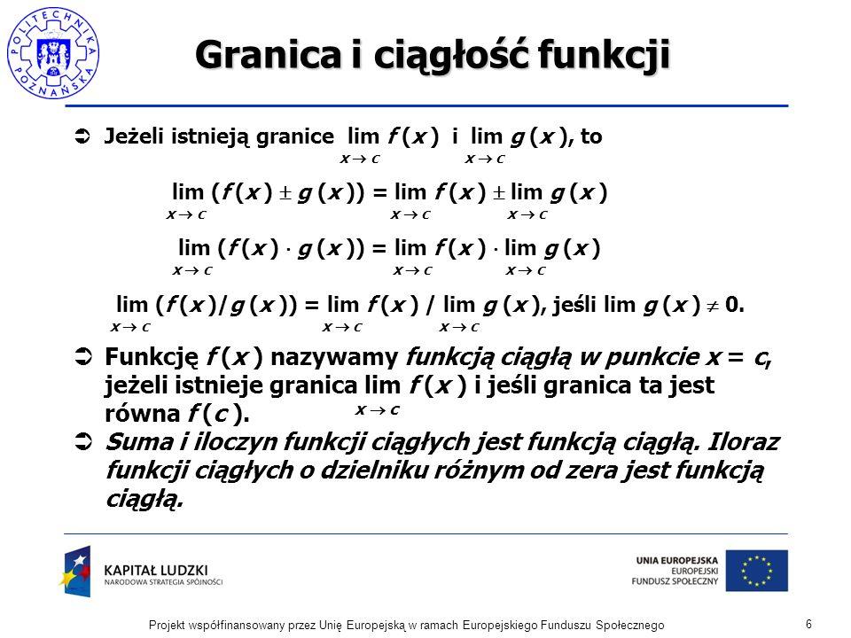 Granica i ciągłość funkcji Przykład 1.