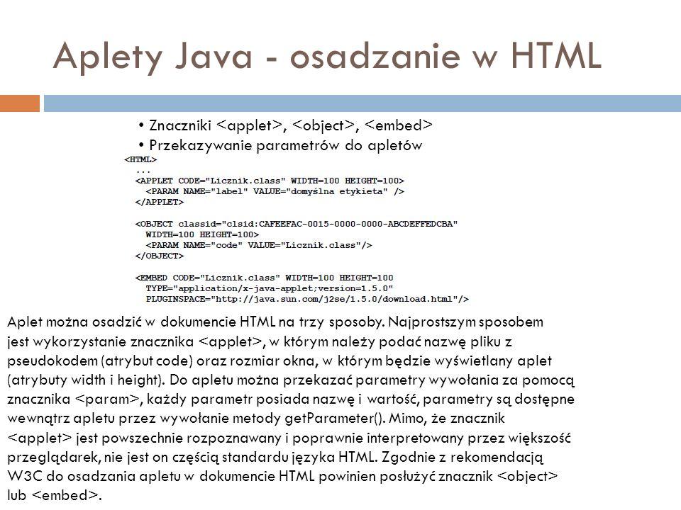 Aplety Java - osadzanie w HTML Znaczniki,, Przekazywanie parametrów do apletów Aplet można osadzić w dokumencie HTML na trzy sposoby. Najprostszym spo