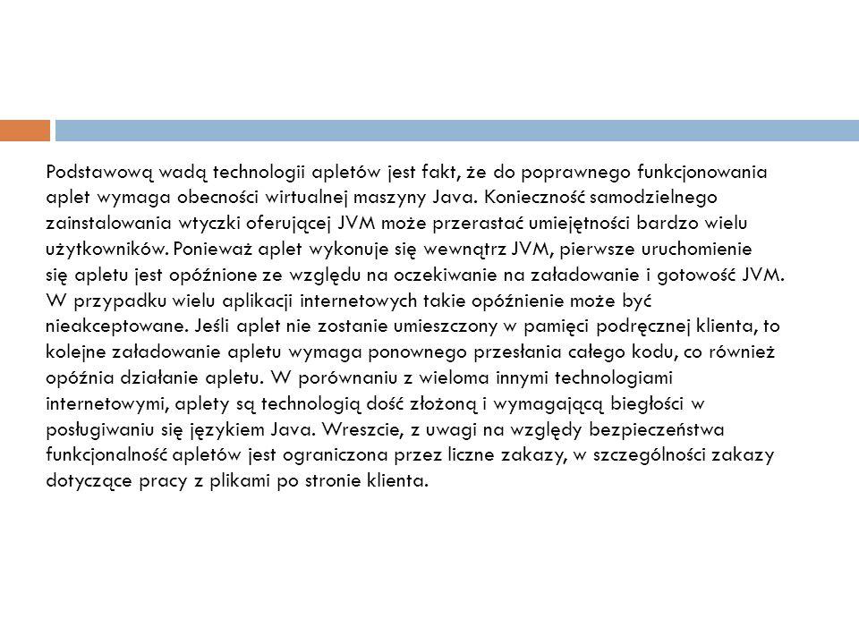 Technologia apletów posiada również wiele zalet.Ponieważ pseudokod maszynowy Javy (tzw.