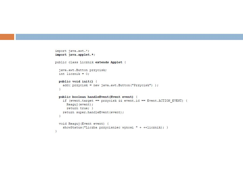 Aplet Java jest klasą dziedziczącą po klasie bazowej java.applet.Applet, która z kolei jest klasą potomną klas java.awt.Panel i java.awt.Container.