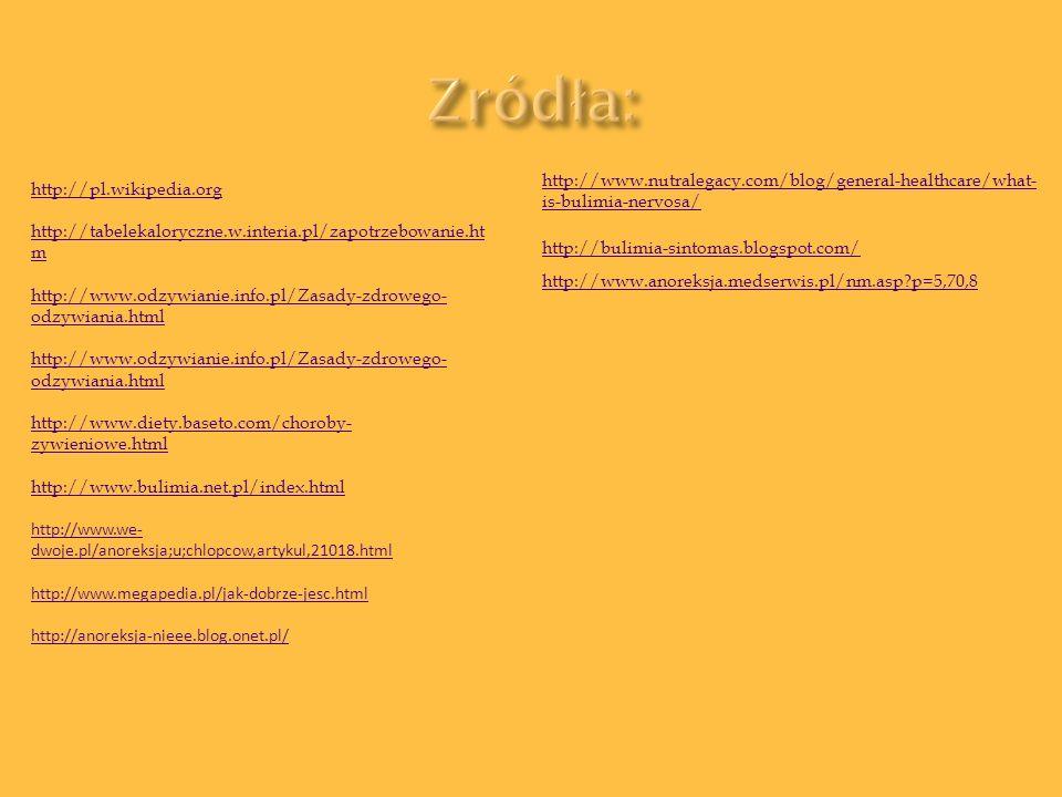 http://pl.wikipedia.org http://tabelekaloryczne.w.interia.pl/zapotrzebowanie.ht m http://www.odzywianie.info.pl/Zasady-zdrowego- odzywiania.html http: