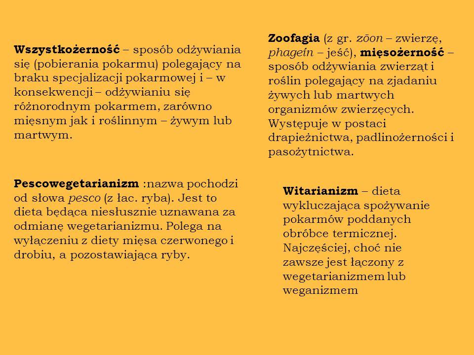 Wegetarianizm - rodzaj diety charakteryzujący się wyłączeniem z posiłków produktów pochodzenia zwierzęcego i ewentualnie jaj lub nabiału z pobudek moralnych, etycznych bądź zdrowotnych.