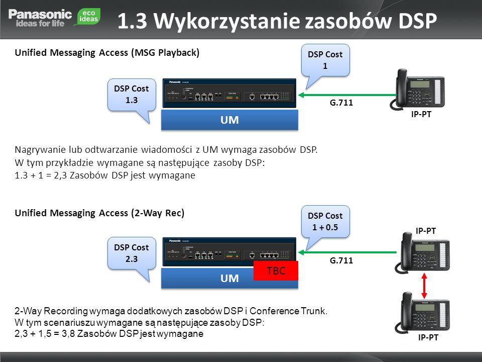 DSP Cost 1.3 DSP Cost 1.3 IP-PT G.711 Nagrywanie lub odtwarzanie wiadomości z UM wymaga zasobów DSP.