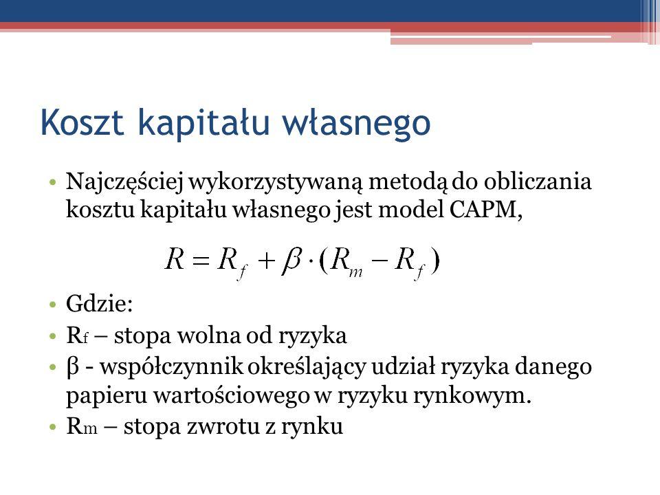 Koszt kapitału własnego Najczęściej wykorzystywaną metodą do obliczania kosztu kapitału własnego jest model CAPM, Gdzie: R f – stopa wolna od ryzyka β