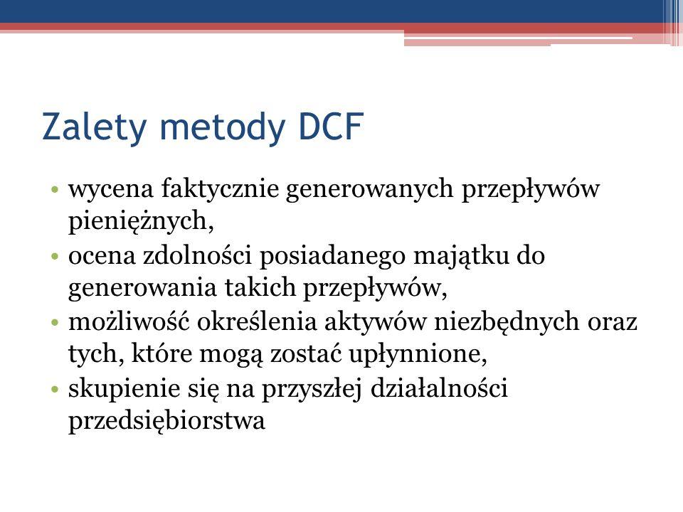 Zalety metody DCF wycena faktycznie generowanych przepływów pieniężnych, ocena zdolności posiadanego majątku do generowania takich przepływów, możliwo