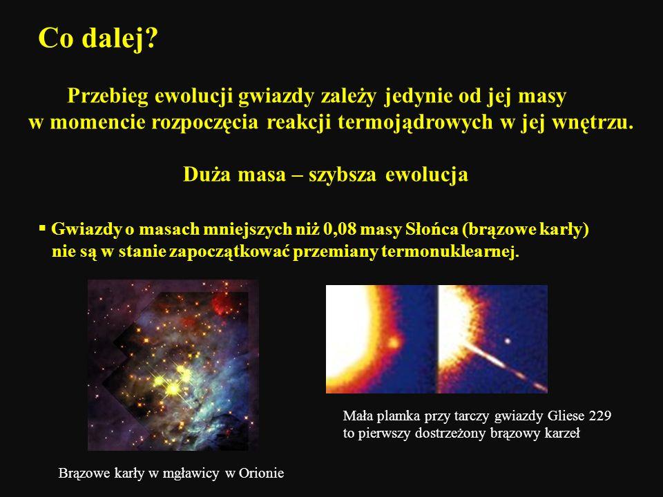 Co dalej? Przebieg ewolucji gwiazdy zależy jedynie od jej masy w momencie rozpoczęcia reakcji termojądrowych w jej wnętrzu. Duża masa – szybsza ewoluc