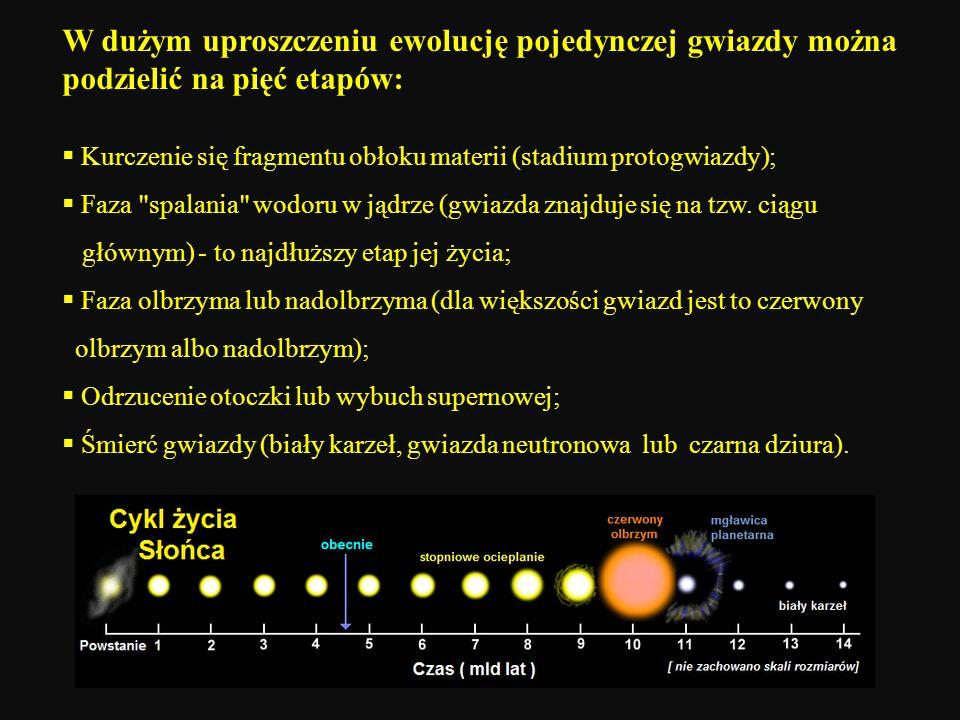 W dużym uproszczeniu ewolucję pojedynczej gwiazdy można podzielić na pięć etapów: Kurczenie się fragmentu obłoku materii (stadium protogwiazdy); Faza