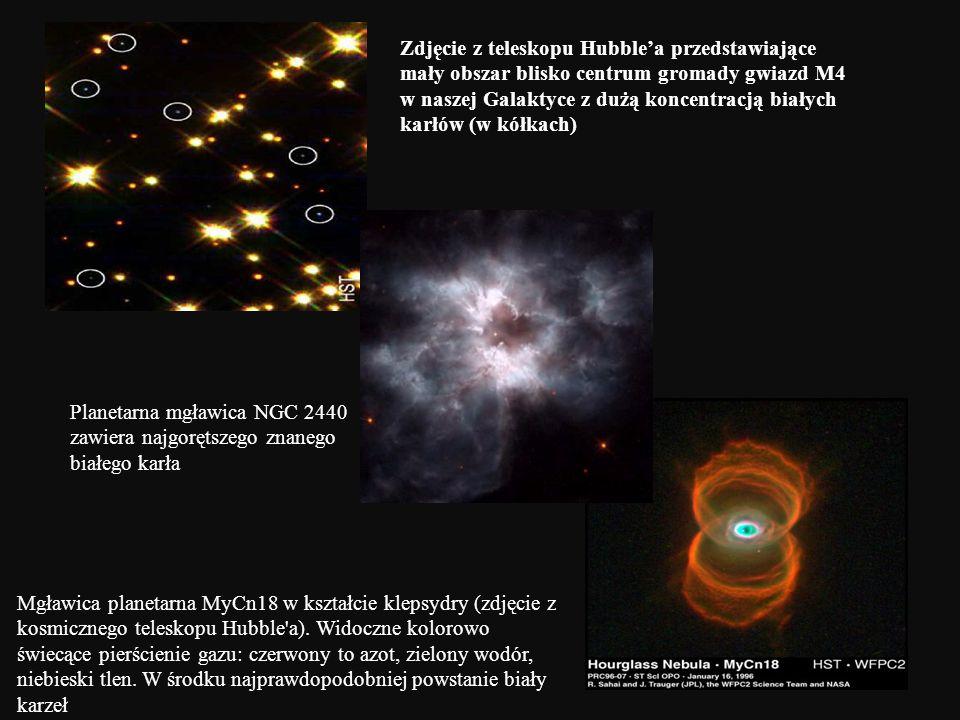 Zdjęcie z teleskopu Hubblea przedstawiające mały obszar blisko centrum gromady gwiazd M4 w naszej Galaktyce z dużą koncentracją białych karłów (w kółk