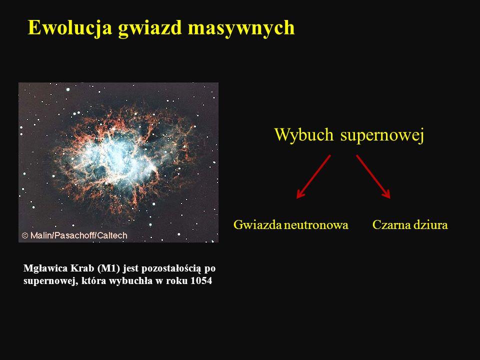 Ewolucja gwiazd masywnych Mgławica Krab (M1) jest pozostałością po supernowej, która wybuchła w roku 1054 Wybuch supernowej Gwiazda neutronowaCzarna d