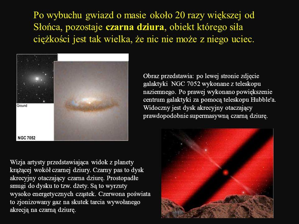 Po wybuchu gwiazd o masie około 20 razy większej od Słońca, pozostaje czarna dziura, obiekt którego siła ciężkości jest tak wielka, że nic nie może z