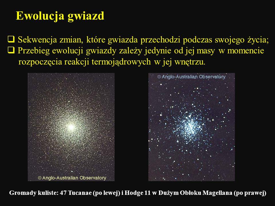 Ewolucja gwiazd Sekwencja zmian, które gwiazda przechodzi podczas swojego życia; Przebieg ewolucji gwiazdy zależy jedynie od jej masy w momencie rozpo