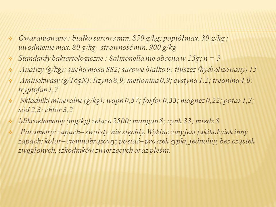 Gwarantowane : białko surowe min. 850 g/kg; popiół max. 30 g/kg ; uwodnienie max. 80 g/kg strawność min. 900 g/kg Standardy bakteriologiczne : Salmone