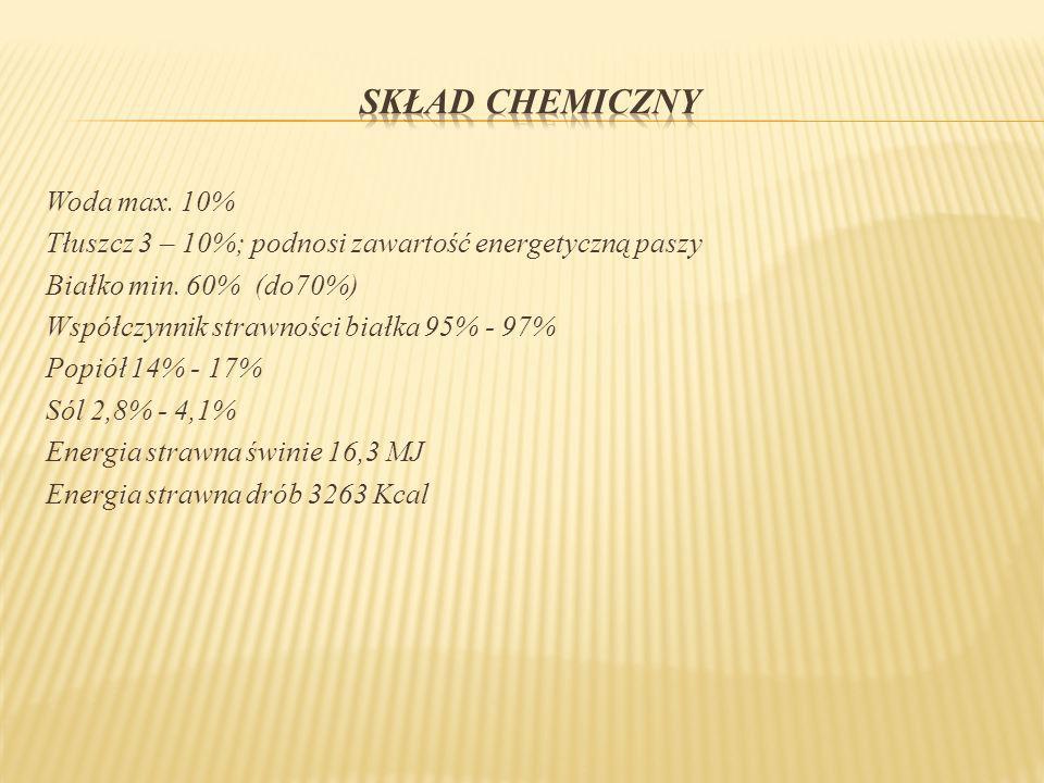 Woda max. 10% Tłuszcz 3 – 10%; podnosi zawartość energetyczną paszy Białko min. 60% (do70%) Współczynnik strawności białka 95% - 97% Popiół 14% - 17%
