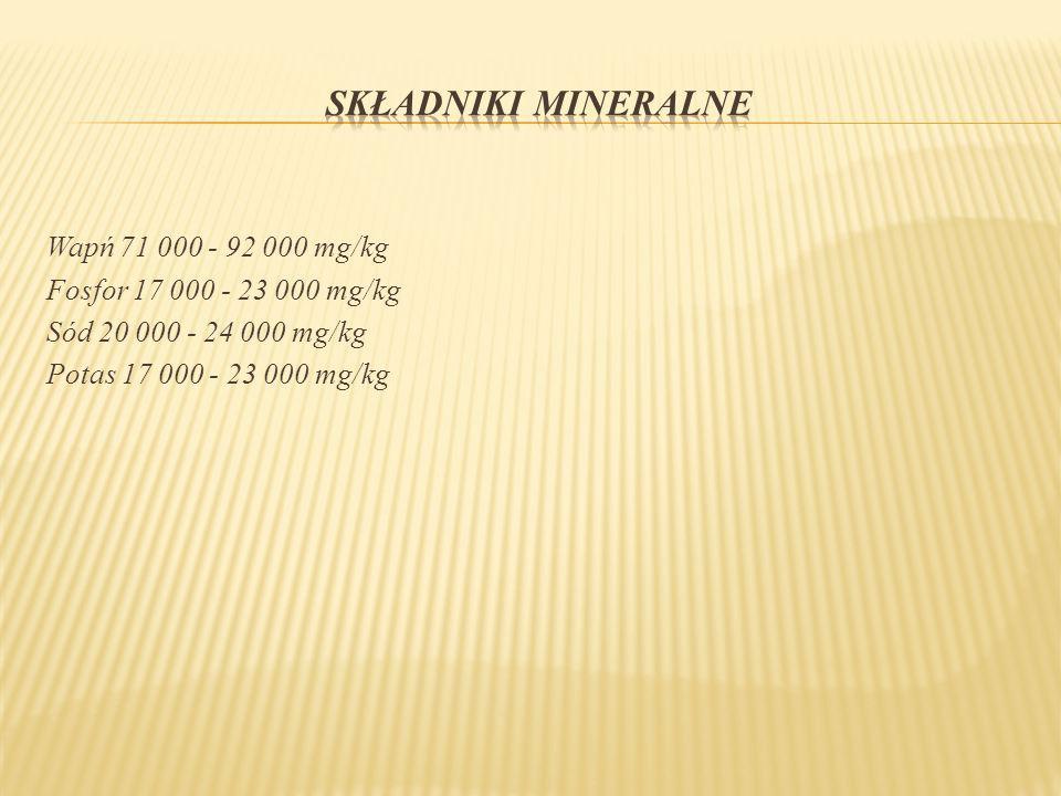 Wapń 71 000 - 92 000 mg/kg Fosfor 17 000 - 23 000 mg/kg Sód 20 000 - 24 000 mg/kg Potas 17 000 - 23 000 mg/kg