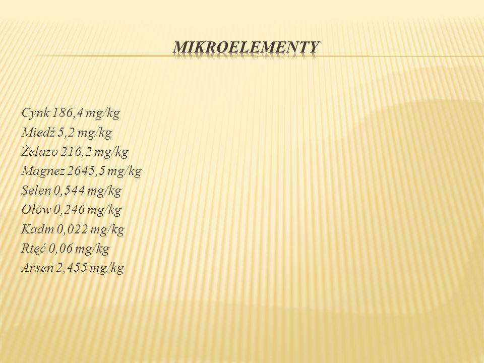 Cynk 186,4 mg/kg Miedź 5,2 mg/kg Żelazo 216,2 mg/kg Magnez 2645,5 mg/kg Selen 0,544 mg/kg Ołów 0,246 mg/kg Kadm 0,022 mg/kg Rtęć 0,06 mg/kg Arsen 2,45