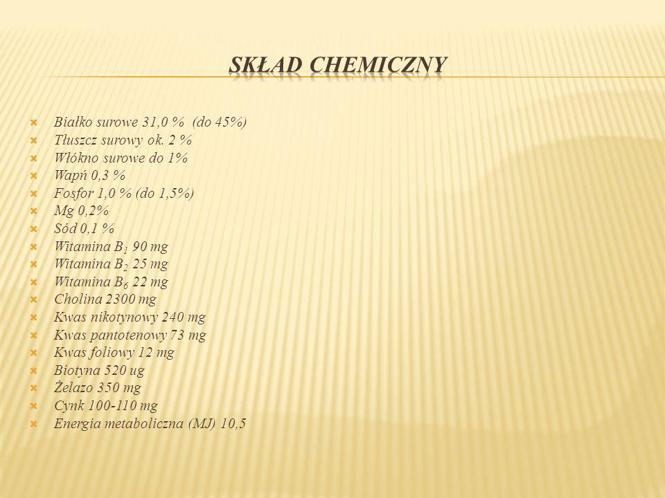 Białko surowe 31,0 % (do 45%) Tłuszcz surowy ok. 2 % Włókno surowe do 1% Wapń 0,3 % Fosfor 1,0 % (do 1,5%) Mg 0,2% Sód 0,1 % Witamina B 1 90 mg Witami