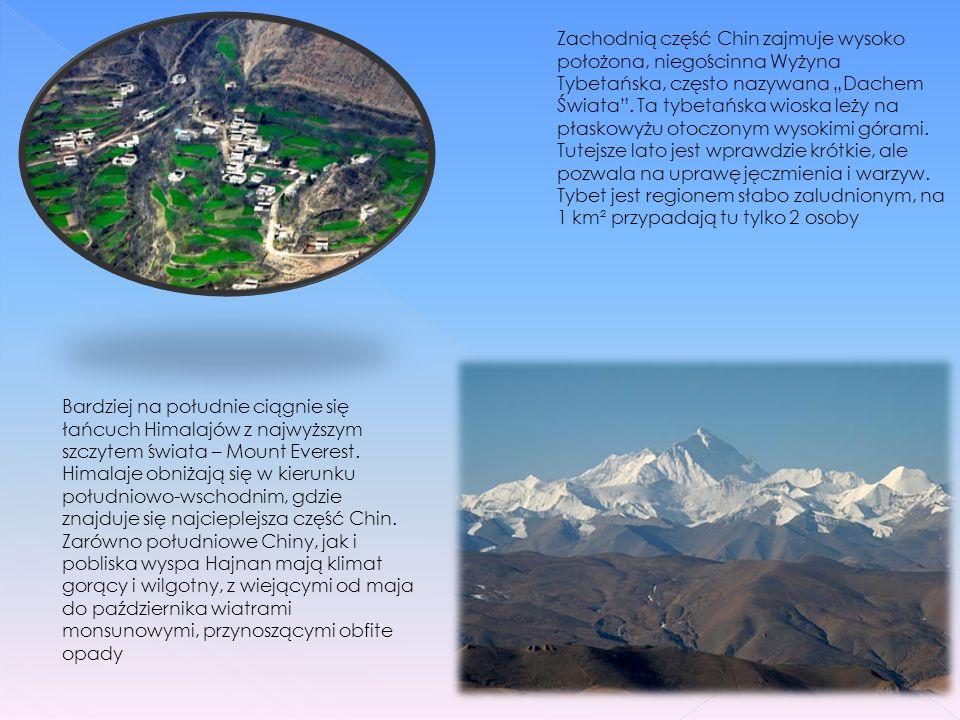 Chiny są trzecim co do wielkości krajem świata, po Rosji i Kanadzie. Krajobraz Chin, tak jak i klimat, jest bardzo zróżnicowany. Na północnym wschodzi
