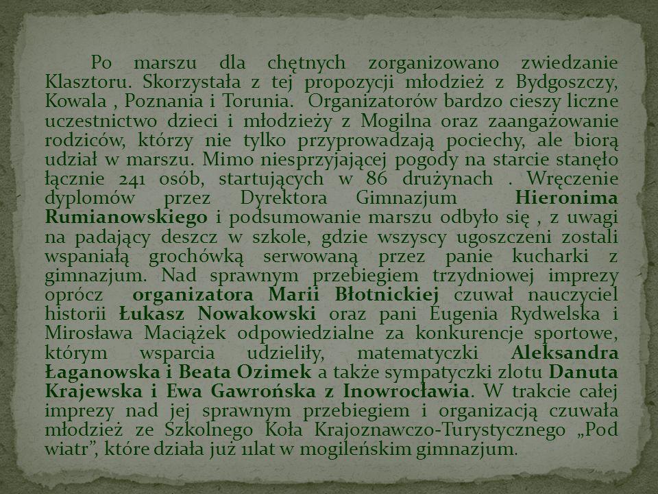 Po marszu dla chętnych zorganizowano zwiedzanie Klasztoru. Skorzystała z tej propozycji młodzież z Bydgoszczy, Kowala, Poznania i Torunia. Organizator
