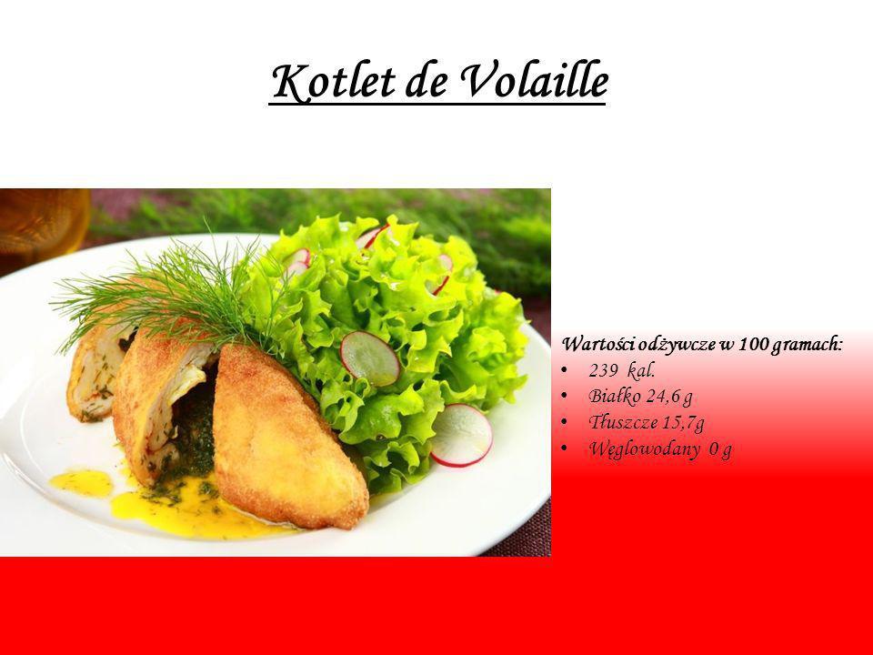 Kotlet de Volaille Wartości odżywcze w 100 gramach: 239 kal. Białko 24,6 g Tłuszcze 15,7g Węglowodany 0 g