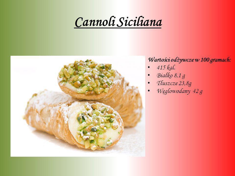 Cannoli Siciliana Wartości odżywcze w 100 gramach: 415 kal. Białko 8,1 g Tłuszcze 23,8g Węglowodany 42 g