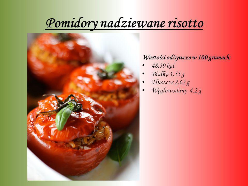 Pomidory nadziewane risotto Wartości odżywcze w 100 gramach: 48,39 kal. Białko 1,53 g Tłuszcze 2,62 g Węglowodany 4,2 g