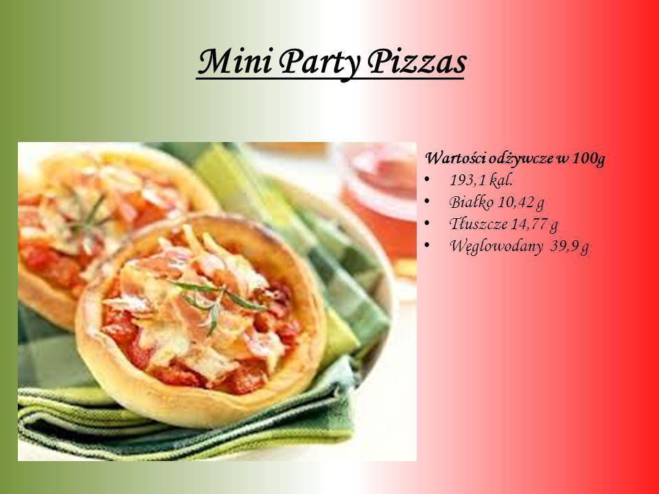 Mini Party Pizzas Wartości odżywcze w 100g 193,1 kal. Białko 10,42 g Tłuszcze 14,77 g Węglowodany 39,9 g