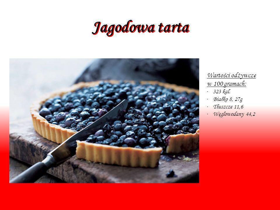 Jagodowa tarta Wartości odżywcze w 100 gramach: · 323 kal. · Białko 8, 27g · Tłuszcze 11,6 · Węglowodany 44,2