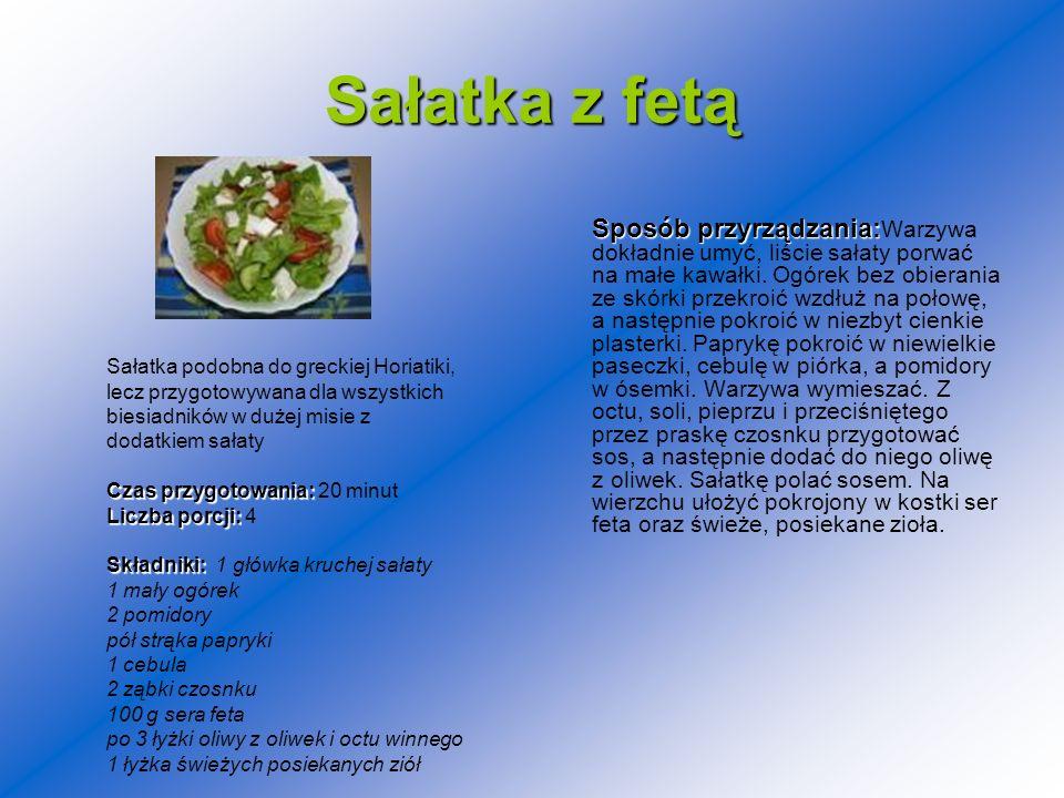 Sałatka z fetą Sposób przyrządzania: Sposób przyrządzania: Warzywa dokładnie umyć, liście sałaty porwać na małe kawałki. Ogórek bez obierania ze skórk