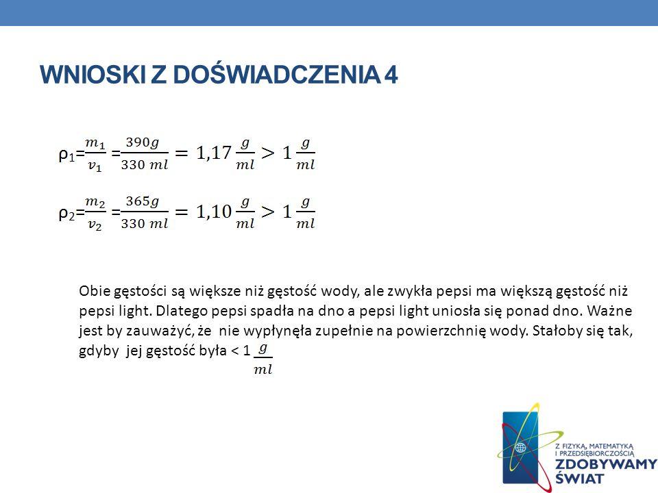 WNIOSKI Z DOŚWIADCZENIA 4 Obie gęstości są większe niż gęstość wody, ale zwykła pepsi ma większą gęstość niż pepsi light.