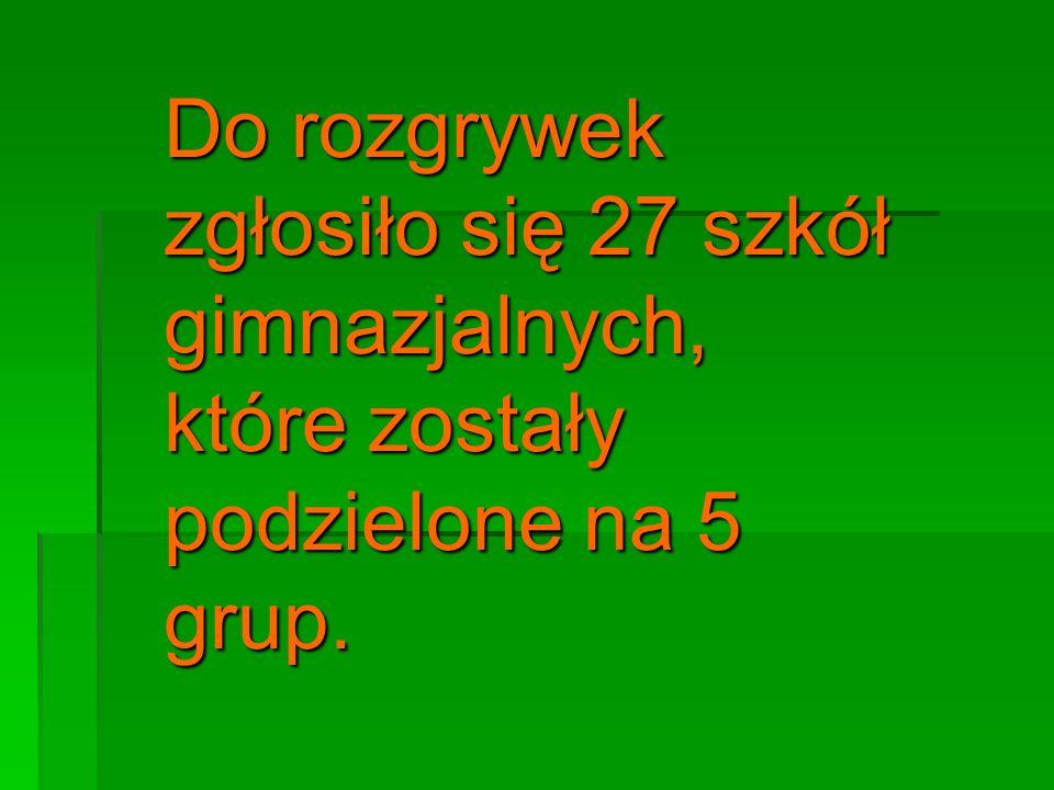 Grupa I 1.Gimnazjum nr 12 2. Gimnazjum nr 20 3. Gimnazjum nr 28 4.