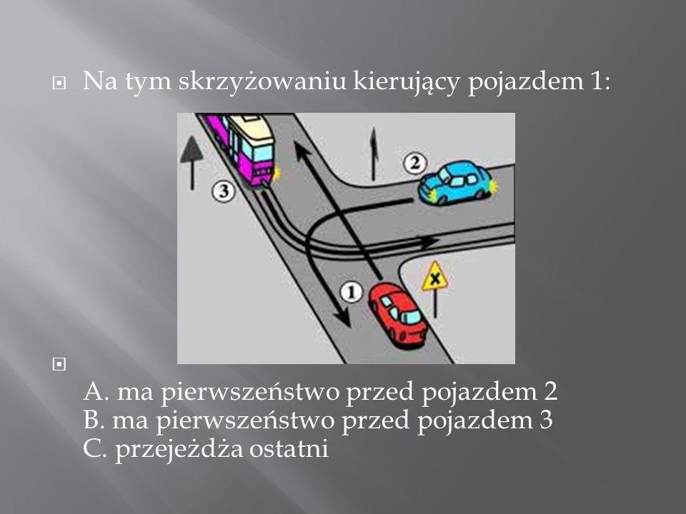 Na tym skrzyżowaniu kierujący pojazdem 1: A. ma pierwszeństwo przed pojazdem 2 B. ma pierwszeństwo przed pojazdem 3 C. przejeżdża ostatni