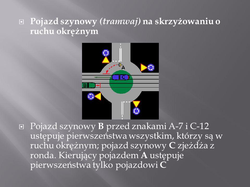 Pojazd szynowy (tramwaj) na skrzyżowaniu o ruchu okrężnym Pojazd szynowy B przed znakami A-7 i C-12 ustępuje pierwszeństwa wszystkim, którzy są w ruch