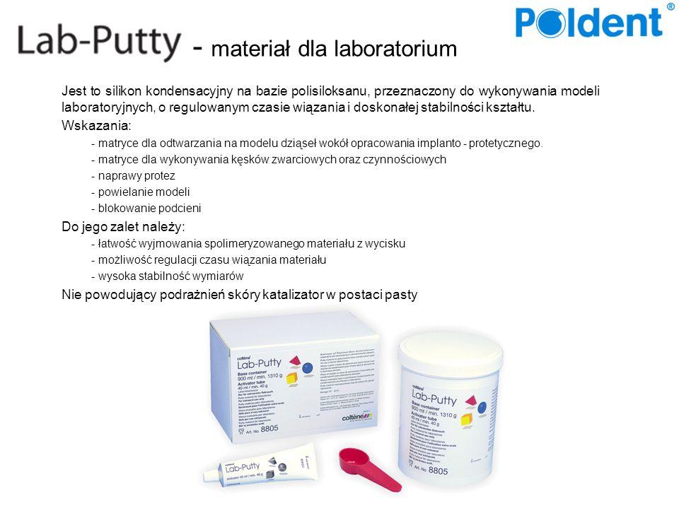 - materiał dla laboratorium Jest to silikon kondensacyjny na bazie polisiloksanu, przeznaczony do wykonywania modeli laboratoryjnych, o regulowanym cz