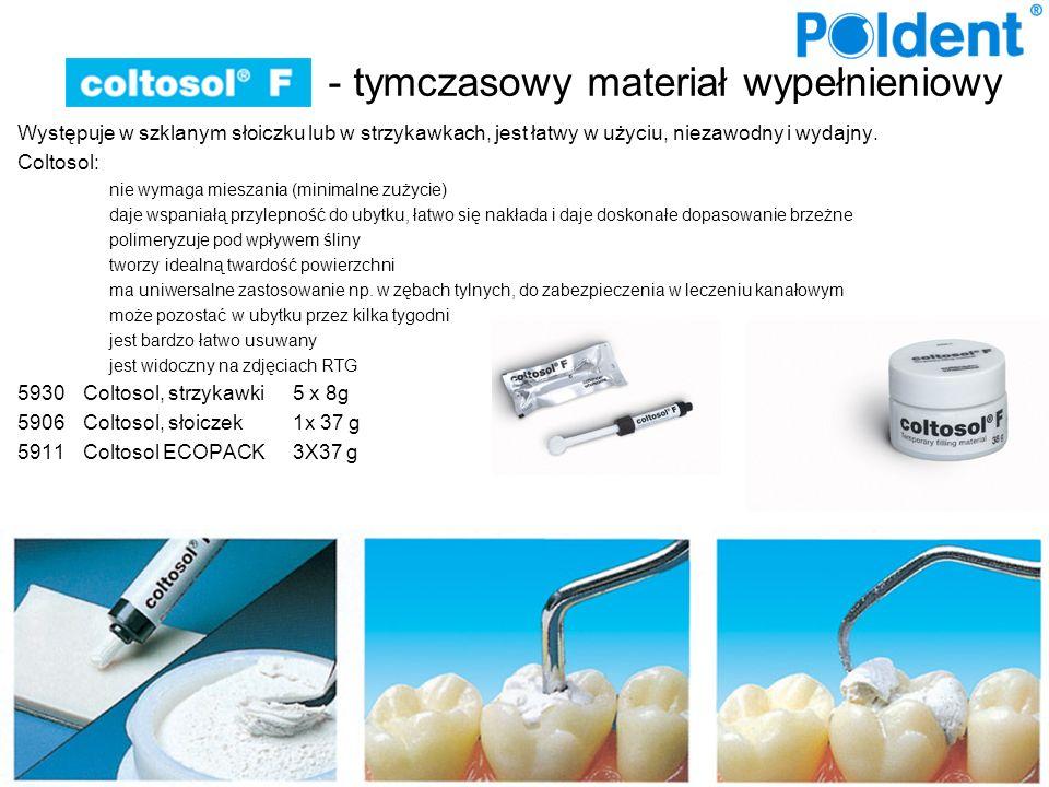 - tymczasowy materiał wypełnieniowy Występuje w szklanym słoiczku lub w strzykawkach, jest łatwy w użyciu, niezawodny i wydajny. Coltosol: nie wymaga