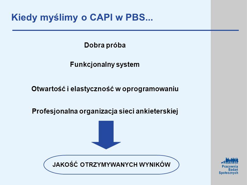 Kiedy myślimy o CAPI w PBS... JAKOŚĆ OTRZYMYWANYCH WYNIKÓW Profesjonalna organizacja sieci ankieterskiej Funkcjonalny system Otwartość i elastyczność