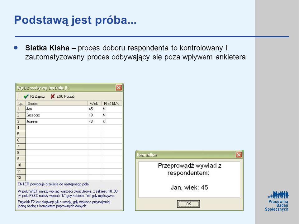Podstawą jest próba... Siatka Kisha – proces doboru respondenta to kontrolowany i zautomatyzowany proces odbywający się poza wpływem ankietera