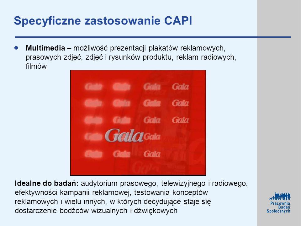 Specyficzne zastosowanie CAPI Multimedia – możliwość prezentacji plakatów reklamowych, prasowych zdjęć, zdjęć i rysunków produktu, reklam radiowych, f