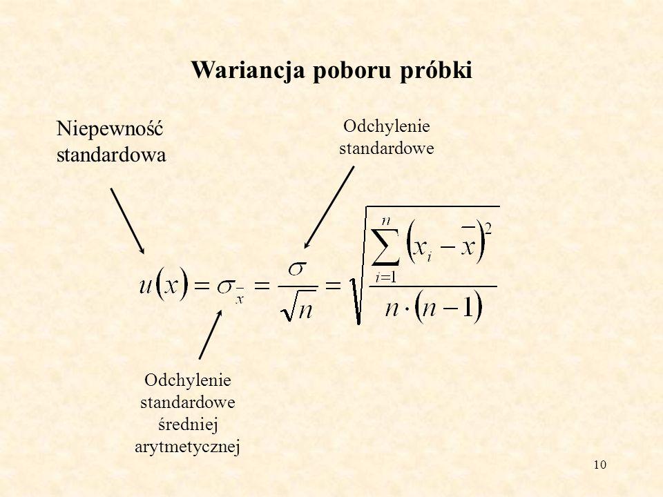 10 Wariancja poboru próbki Niepewność standardowa Odchylenie standardowe średniej arytmetycznej Odchylenie standardowe