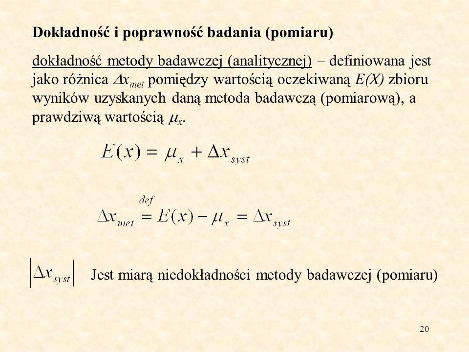 20 Dokładność i poprawność badania (pomiaru) dokładność metody badawczej (analitycznej) – definiowana jest jako różnica x met pomiędzy wartością oczek