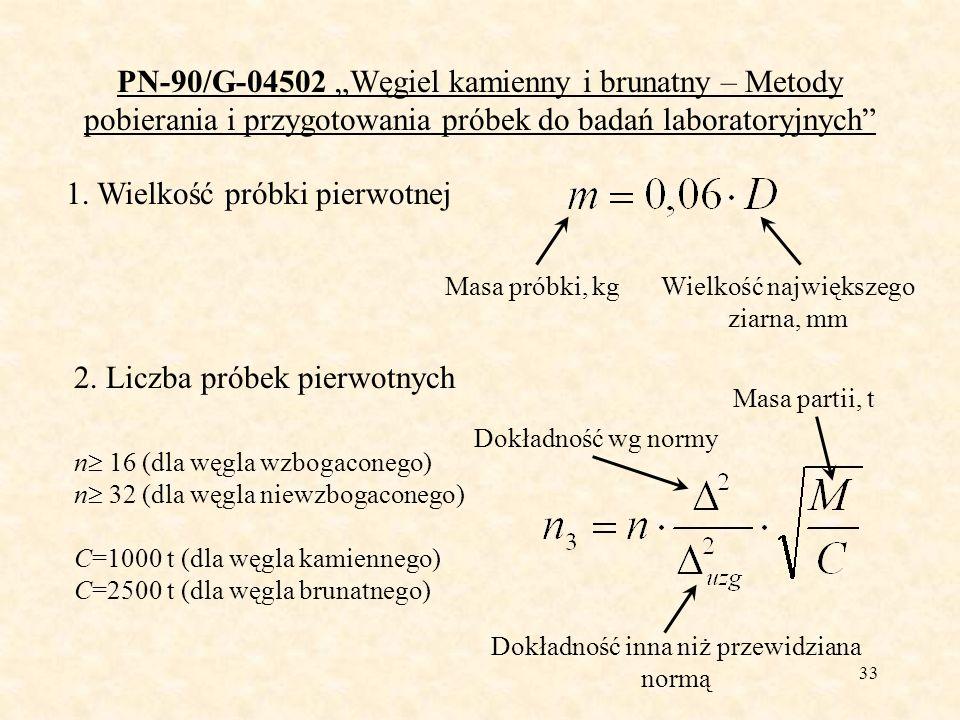 33 PN-90/G-04502 Węgiel kamienny i brunatny – Metody pobierania i przygotowania próbek do badań laboratoryjnych 1. Wielkość próbki pierwotnej Masa pró