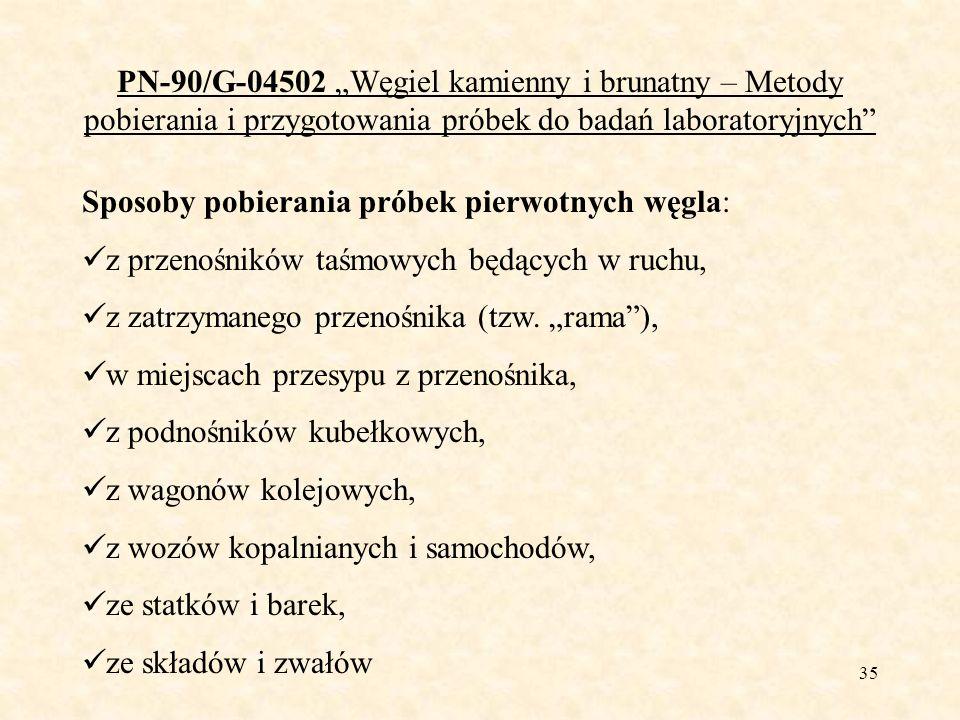 35 PN-90/G-04502 Węgiel kamienny i brunatny – Metody pobierania i przygotowania próbek do badań laboratoryjnych Sposoby pobierania próbek pierwotnych