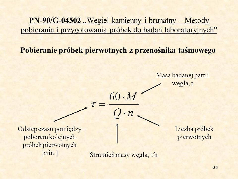 36 PN-90/G-04502 Węgiel kamienny i brunatny – Metody pobierania i przygotowania próbek do badań laboratoryjnych Pobieranie próbek pierwotnych z przeno