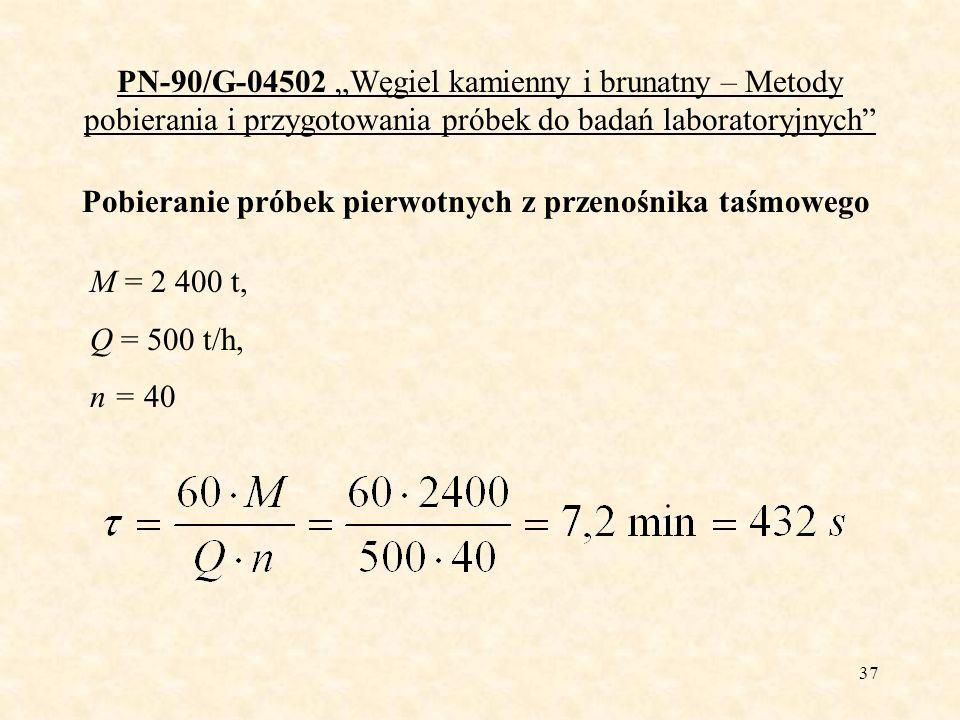 37 PN-90/G-04502 Węgiel kamienny i brunatny – Metody pobierania i przygotowania próbek do badań laboratoryjnych Pobieranie próbek pierwotnych z przeno