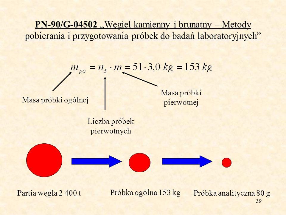 39 PN-90/G-04502 Węgiel kamienny i brunatny – Metody pobierania i przygotowania próbek do badań laboratoryjnych Masa próbki ogólnej Liczba próbek pier