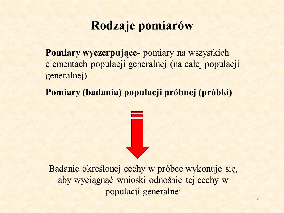 4 Rodzaje pomiarów Pomiary wyczerpujące- pomiary na wszystkich elementach populacji generalnej (na całej populacji generalnej) Pomiary (badania) popul