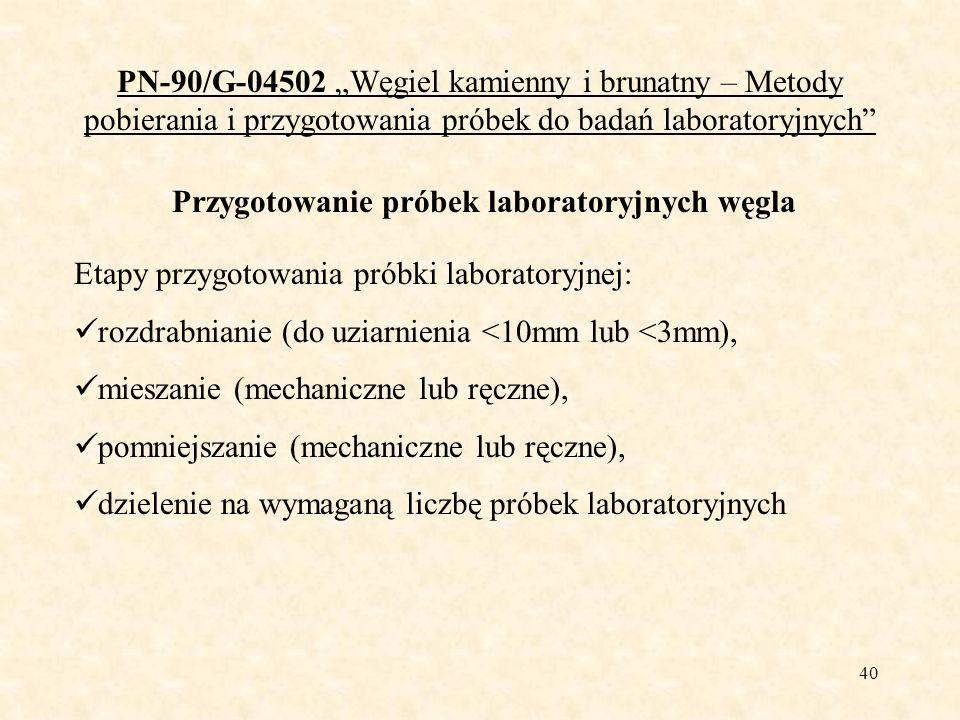 40 PN-90/G-04502 Węgiel kamienny i brunatny – Metody pobierania i przygotowania próbek do badań laboratoryjnych Przygotowanie próbek laboratoryjnych w