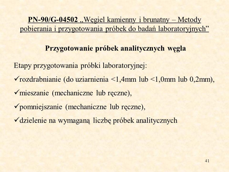 41 PN-90/G-04502 Węgiel kamienny i brunatny – Metody pobierania i przygotowania próbek do badań laboratoryjnych Przygotowanie próbek analitycznych węg