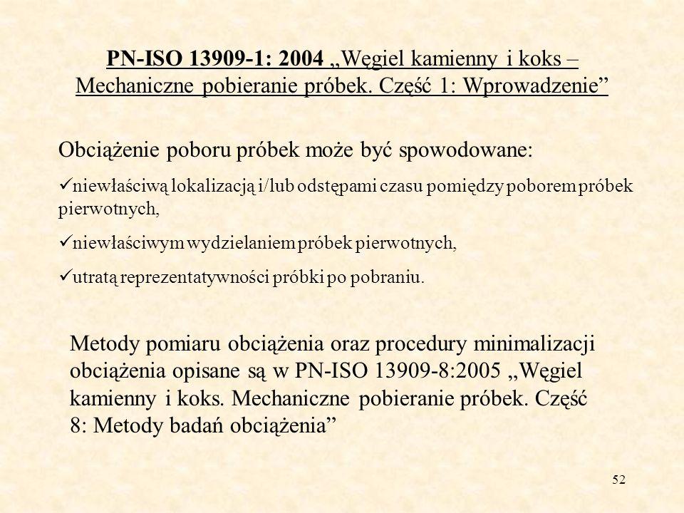 52 PN-ISO 13909-1: 2004 Węgiel kamienny i koks – Mechaniczne pobieranie próbek. Część 1: Wprowadzenie Obciążenie poboru próbek może być spowodowane: n