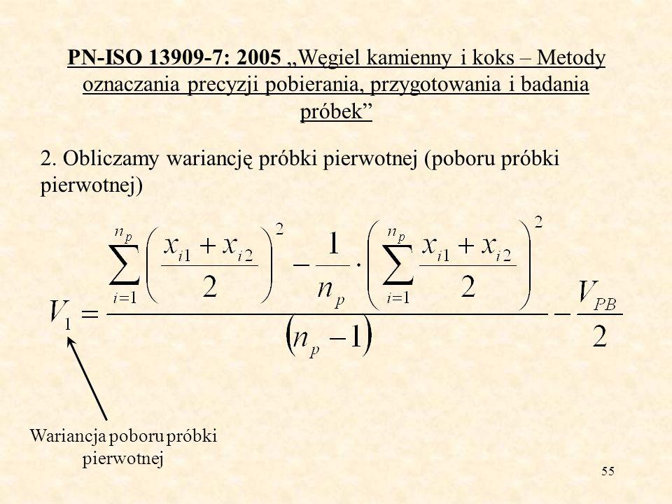 55 PN-ISO 13909-7: 2005 Węgiel kamienny i koks – Metody oznaczania precyzji pobierania, przygotowania i badania próbek 2. Obliczamy wariancję próbki p